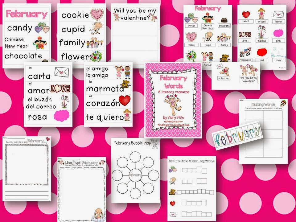 http://www.teacherspayteachers.com/Product/February-Word-Cards-and-Word-Walls-in-English-and-Spanish-516017