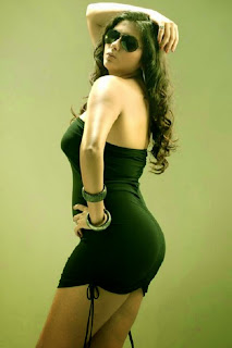 Namitha showing off her hot ass in a skinny black dress