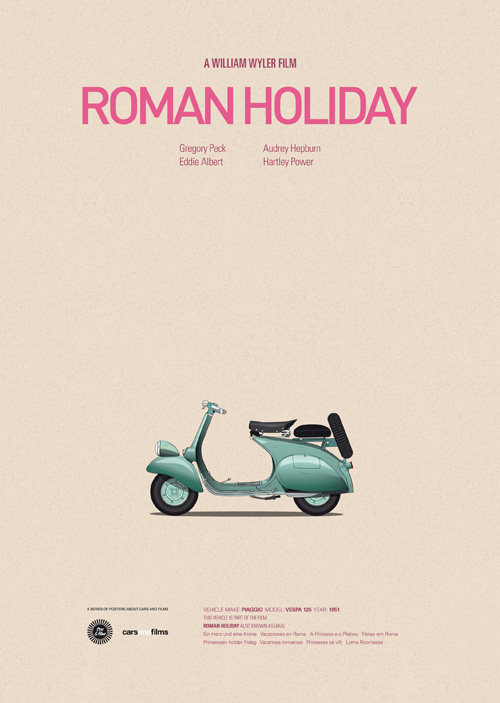 Carros famosos do cinema em posters minimalistas - Jesús Prudencio - Roman Holiday
