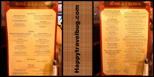 Rose & Crown menu at Epcot's England