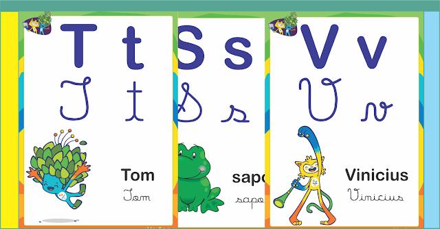Alfabeto Letra Cursiva e Letra Bastão Maiúscula e Minúscula