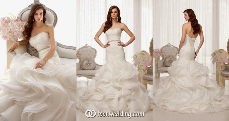 Strapless Trumpet Lace Wedding Dress - Cover