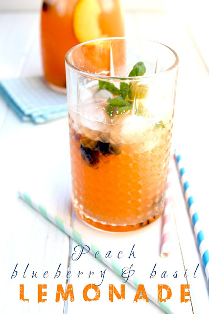 peach, blueberry & basil lemonade
