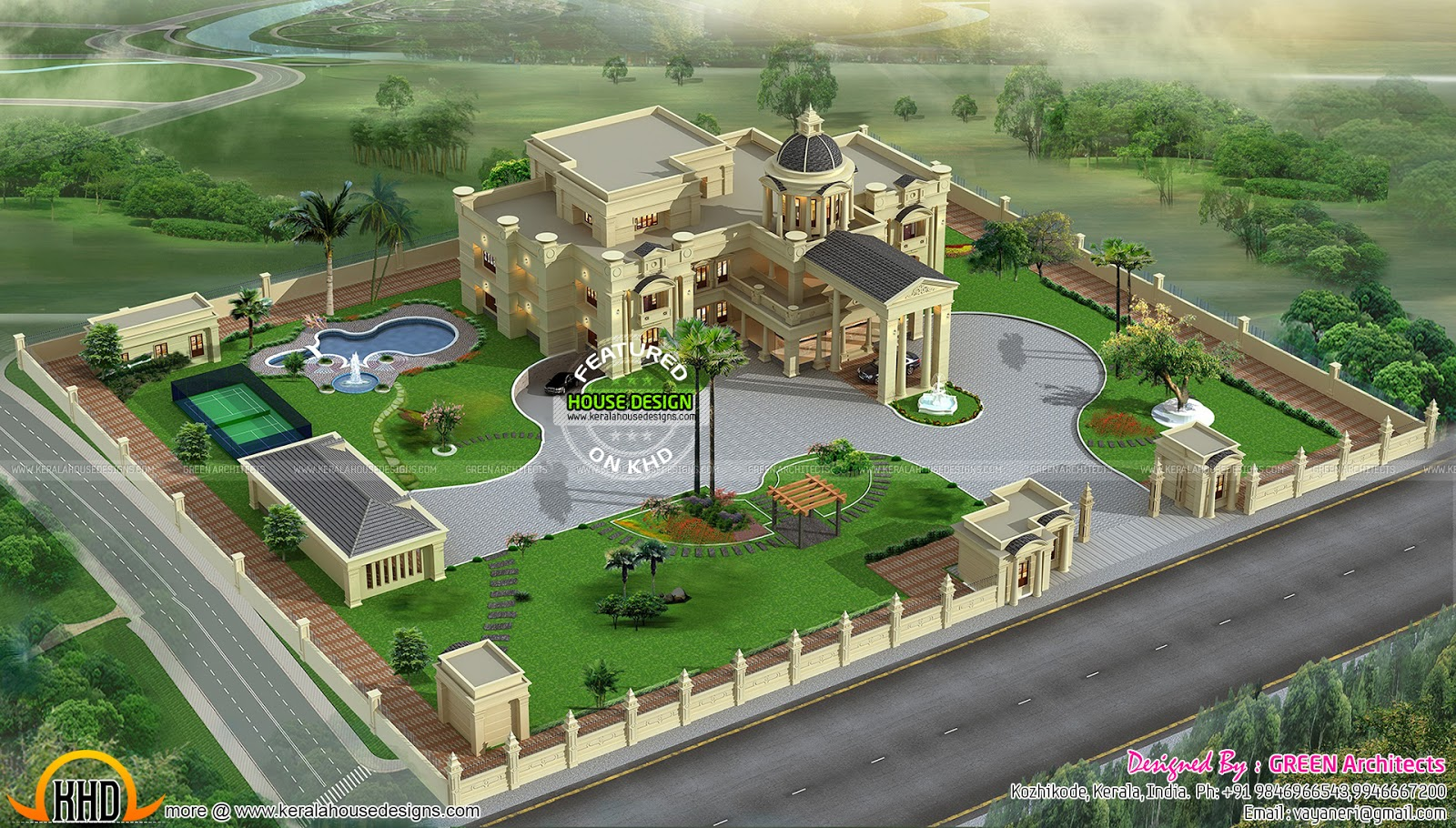 Mansion design in kerala kerala home design and floor plans for Mansion house design