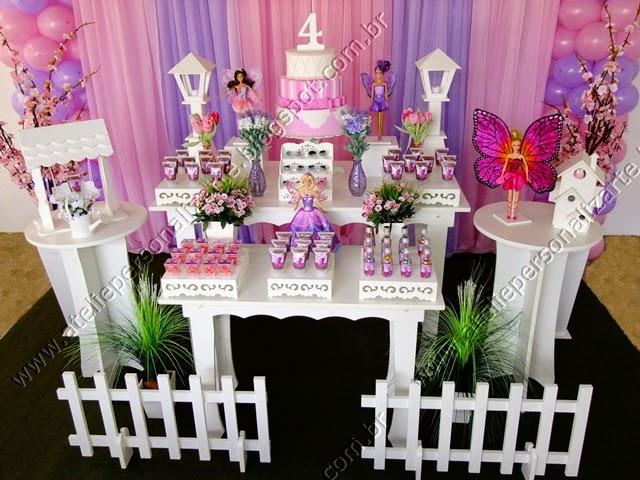 Decoração de festa infantil Barbie Butterfly provençal em Porto Alegre - RS