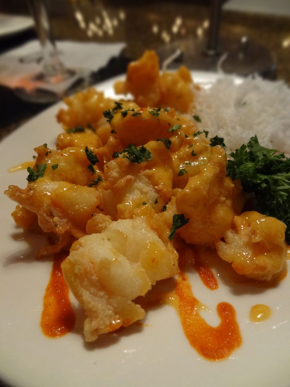 Tempura fried Firecracker Shrimp with dynamite sauce