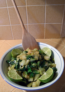 Bowl of Green Garlic Bok Choy with Sauce