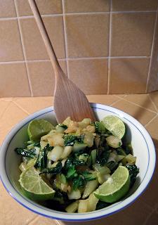 Bowl of Green Garlic Bok Choy with Sauce
