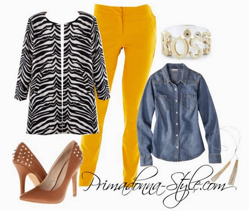 Black and White Zebra Print Round Neck Coat   Mossimo Supply Co. Juniors Long Sleeve Denim Shirt   Worthington Slim Centennial Pants  Zigi Soho Landing Heels  Boss Jelly Affirmation Bracelet  Capsule by Cara Long Tassel Necklace