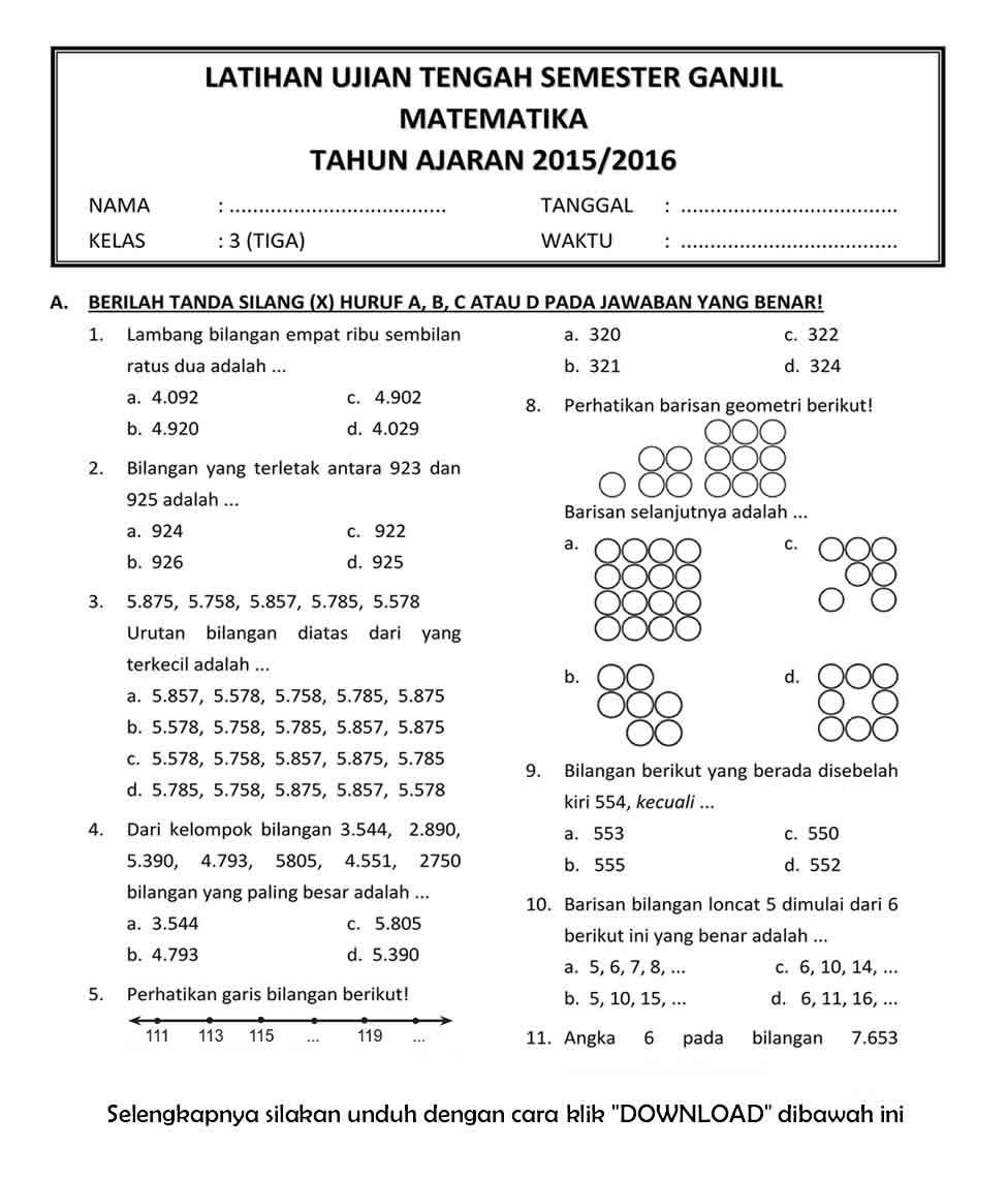 Download Soal Uts Ganjil Matematika Kelas 3 Semester 1 Tahun 2015 2016 Rief Awa Blog