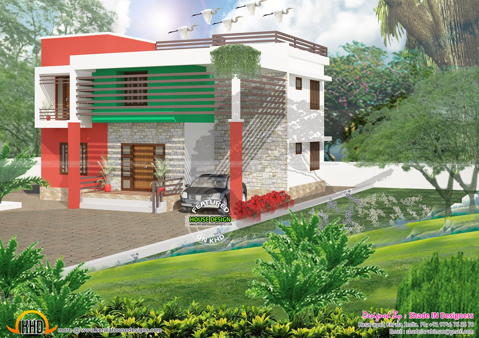 Portico 211 sq ft total area 2919 sq ft no of bedrooms 4 common toilet 2 design style flat roof
