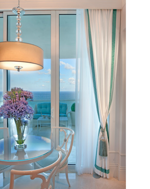 The Lennoxx, turquoise and white drapes, tassel drapes