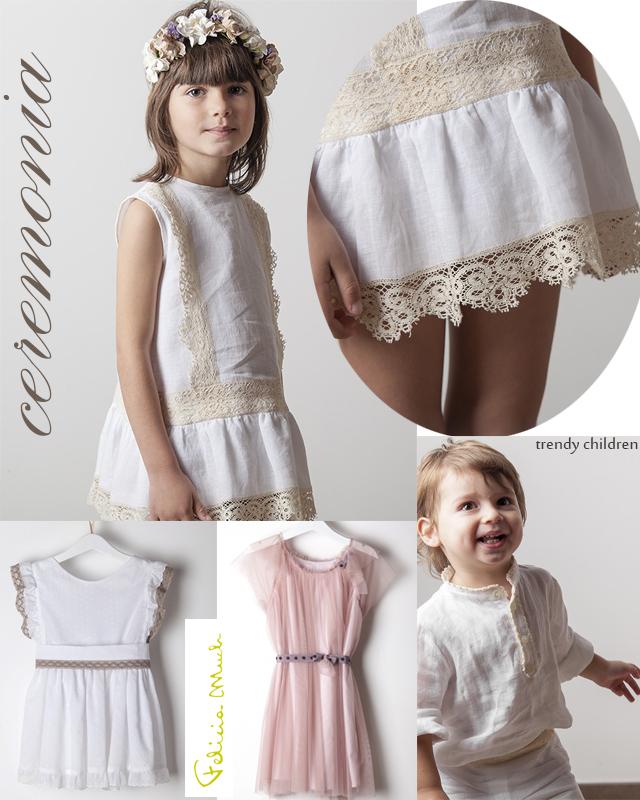 vestido ceremonia niña arras lino encaje de bolillos felicia much trendy children