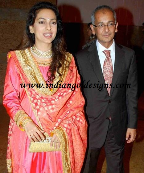 Gold And Diamond Jewellery Designs Juhi Chawla With Husband Jai Mehta In Designer Necklace