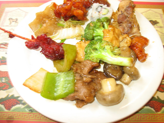 Pepper steak, mushrooms, sushi, Teriyaki chicken, Thai chicken