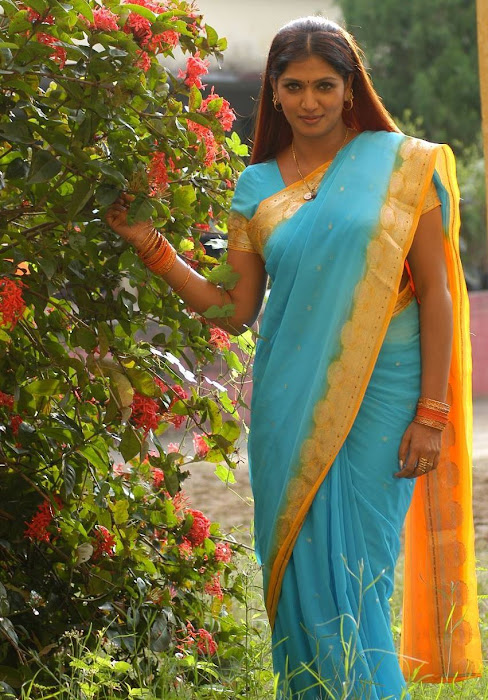 bhuvaneswari in blue saree photo gallery