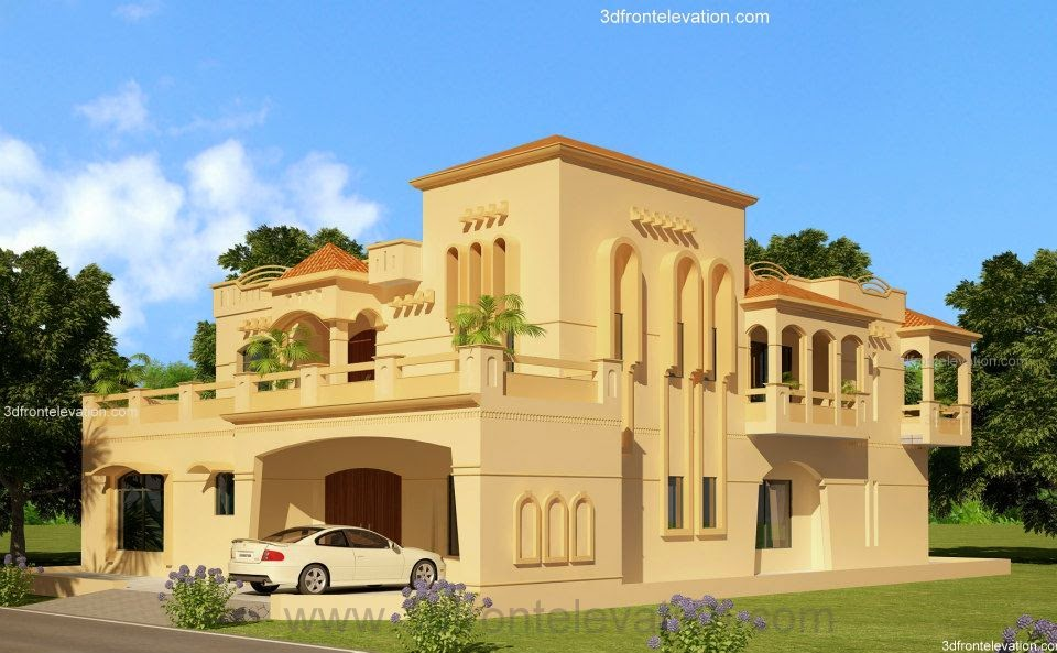 3d front lahore 2 kanal house design lahore for New homes design pakistan