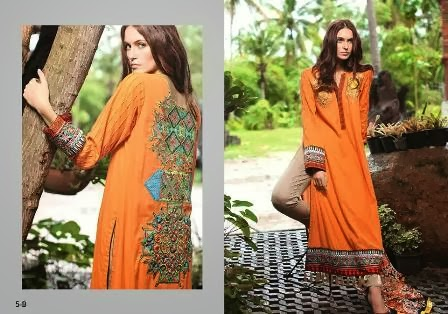 Orange Long Shirt Firdous Collection