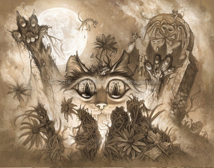 06-Zombie-Cats-Jeff-Haynie-Cats in Drawings-Paintings-and-Jewelry-www-designstack-co