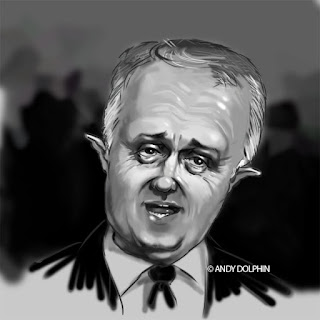 Malcolm Turnbull Prime Minister digital caricature by Andy Dolphin