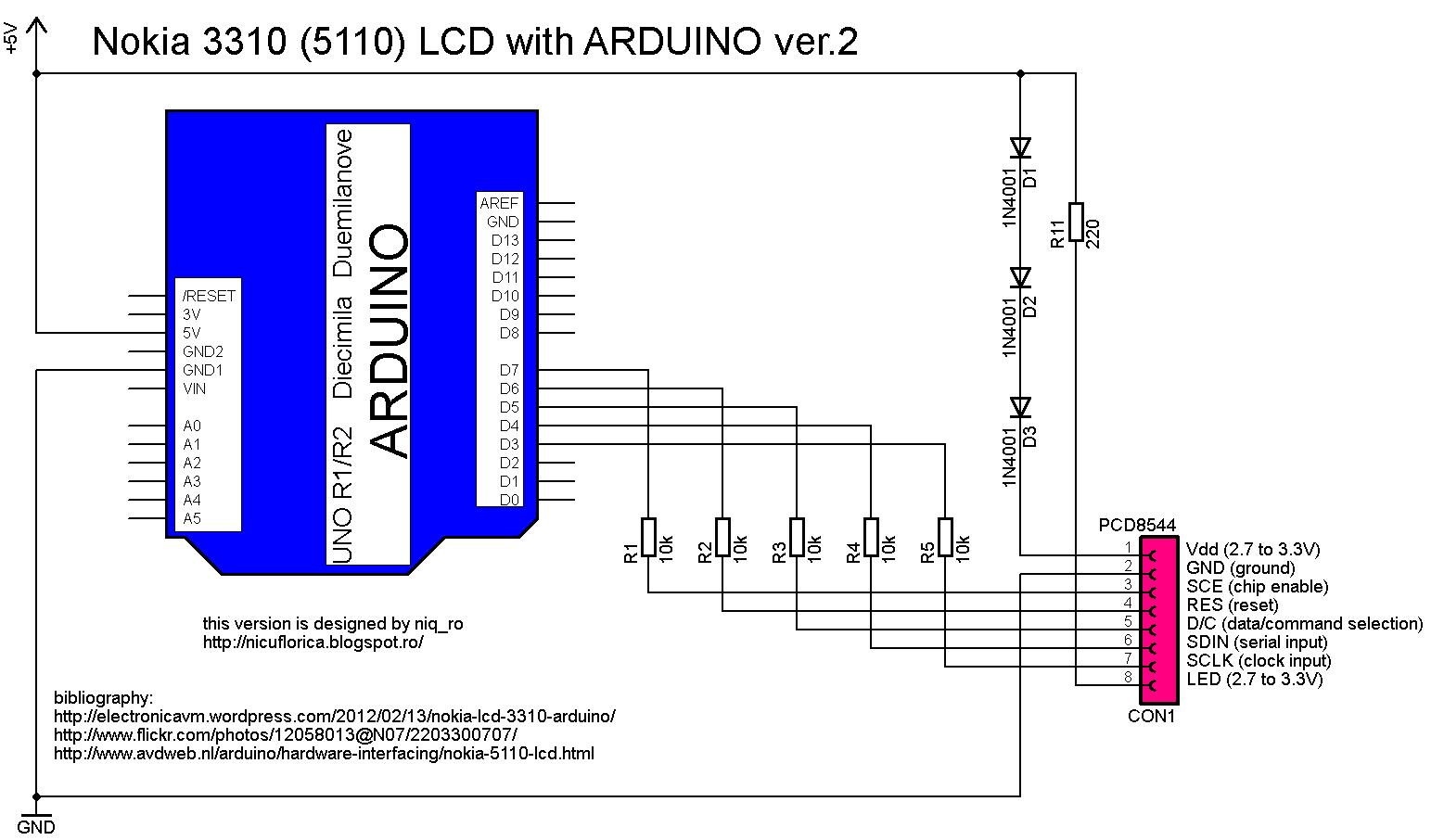Nokia 5110 lcd module monochrome display screen 84 x 48 for arduino -  Pentru Afisajele Folosite La Telefoanele Nokia 5110 Sau 3310 Care Sunt Controlate De Driverul Pcd8544 Iar Rezolutia Grafica Este De 84x48 Pixeli