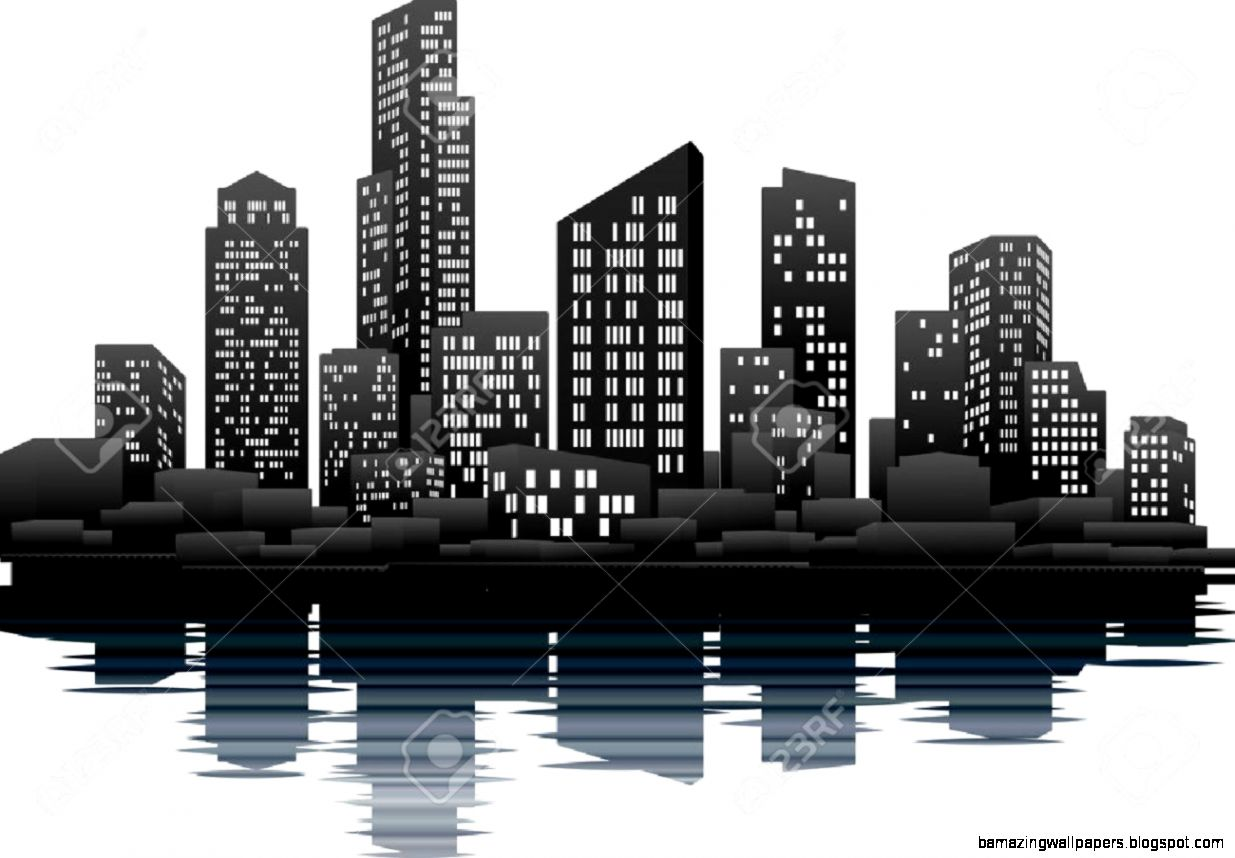 A Vector Illustration Of A Night Time City Skyline Royalty Free