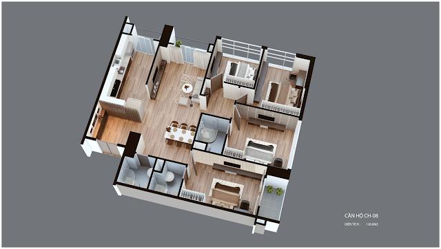 Mặt bằng căn hộ Imperia Garden CH08 120 m2