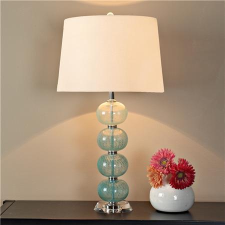 peacock aqua glass ball table lamp shades of light. Black Bedroom Furniture Sets. Home Design Ideas