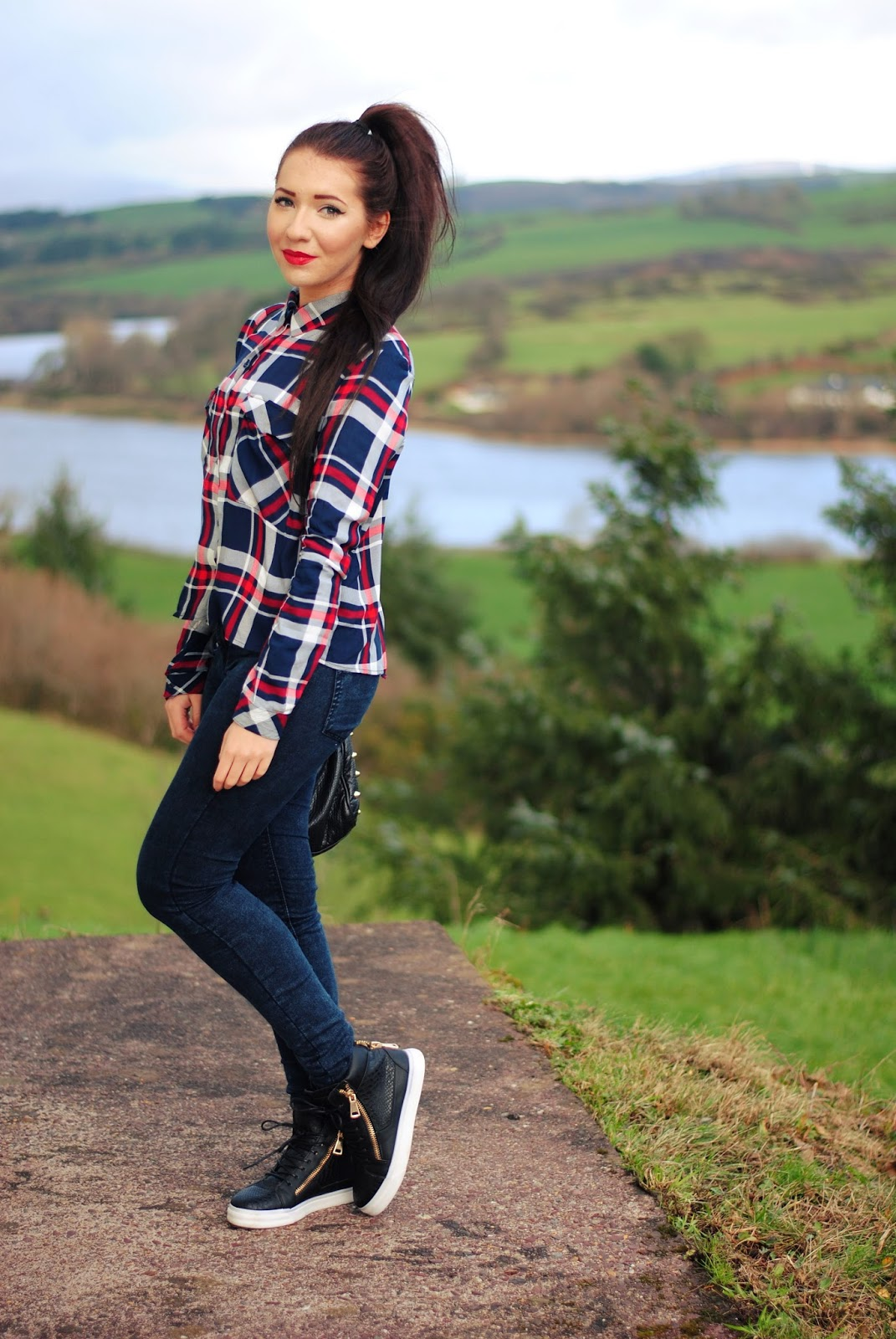 Red lips with checkered shirt