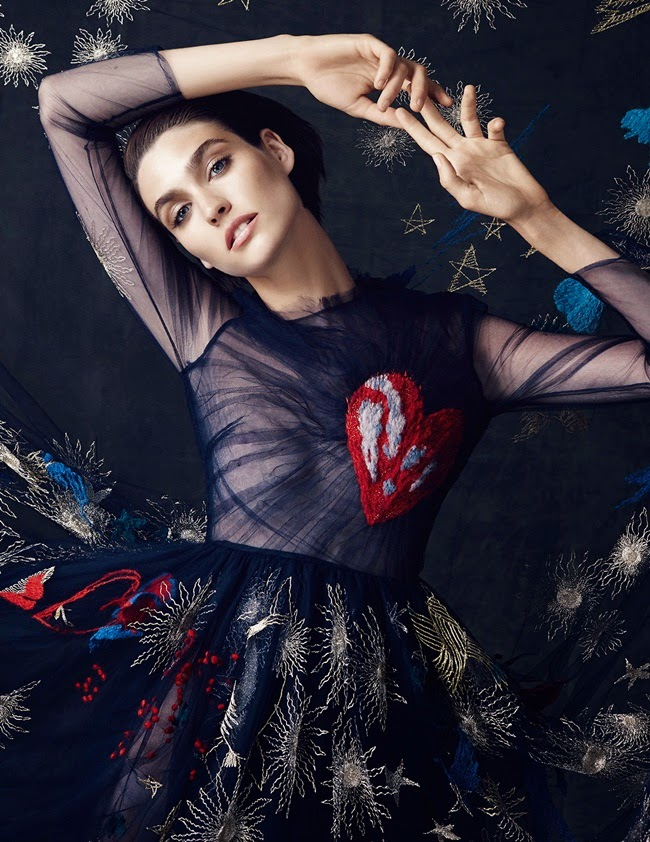 Valention 2014 AW Navy Tulle Embroidered Heart Dress
