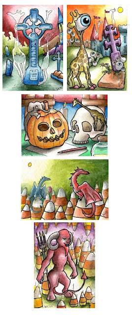 Aceo atc colorful whimsical halloween art mail dragon skull pumpkin candycorn graveyard giraffe dragon devil