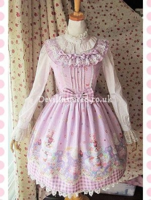 Sweet Lace and Bow Tea Party Printed Rococo Lolita Dress