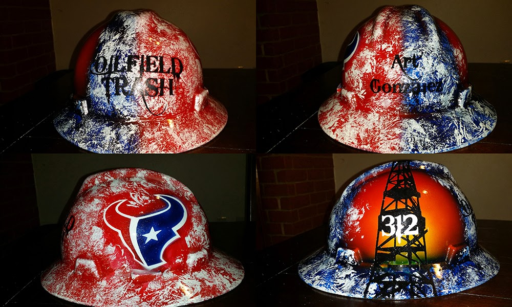 Oilfield Trash Houston Texans style, Red, white and blue with the bull
