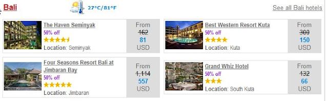 Bali Hotels on Half Price