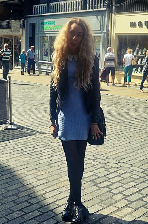 stephi lareine, primark dress, topshop leather jacket, asos brogues