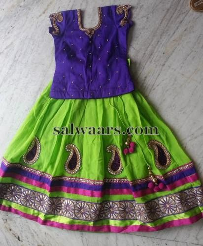 Paisley Motifs Indian Kids Skirt