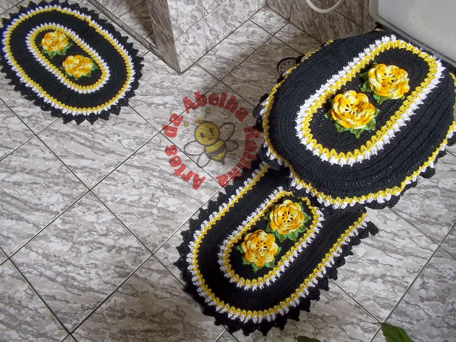 Artes da Abelha Rainha: Jogo de Banheiro de Crochê Preto e Amarelo #B18C1A 1600x1200 Banheiro Amarelo Com Preto