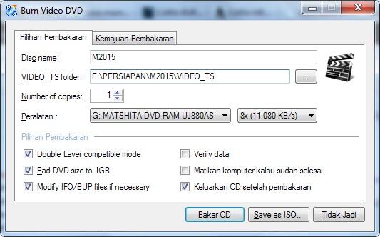 menyetel aplikasi cdburningxp untuk membuat duplikat video dvd