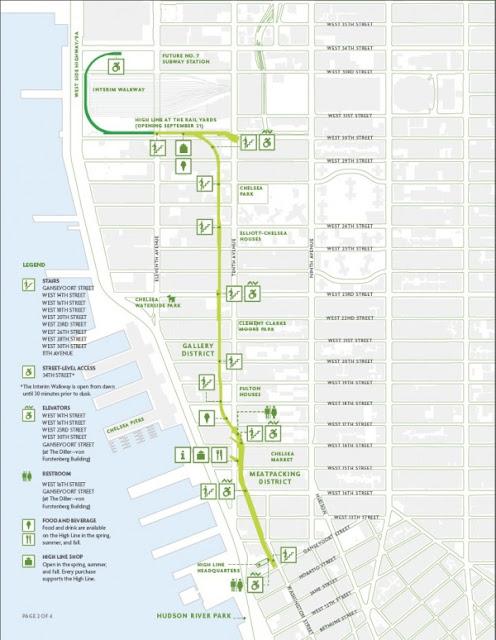 Plan de la Highline à New-York Manhattan meatpacking district