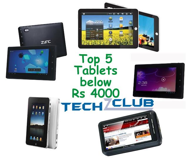 Top 5 Tablets below Rs 4000
