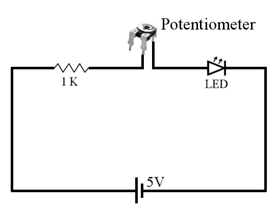 three ways of connecting potentiometer in circuits with circuit