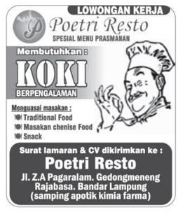 Lowongan Kerja Poetri Resto