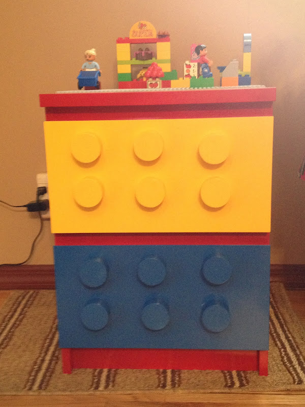 Materials: Malm 2 drawer chest, large dowel, spray paint, Lego base  title=