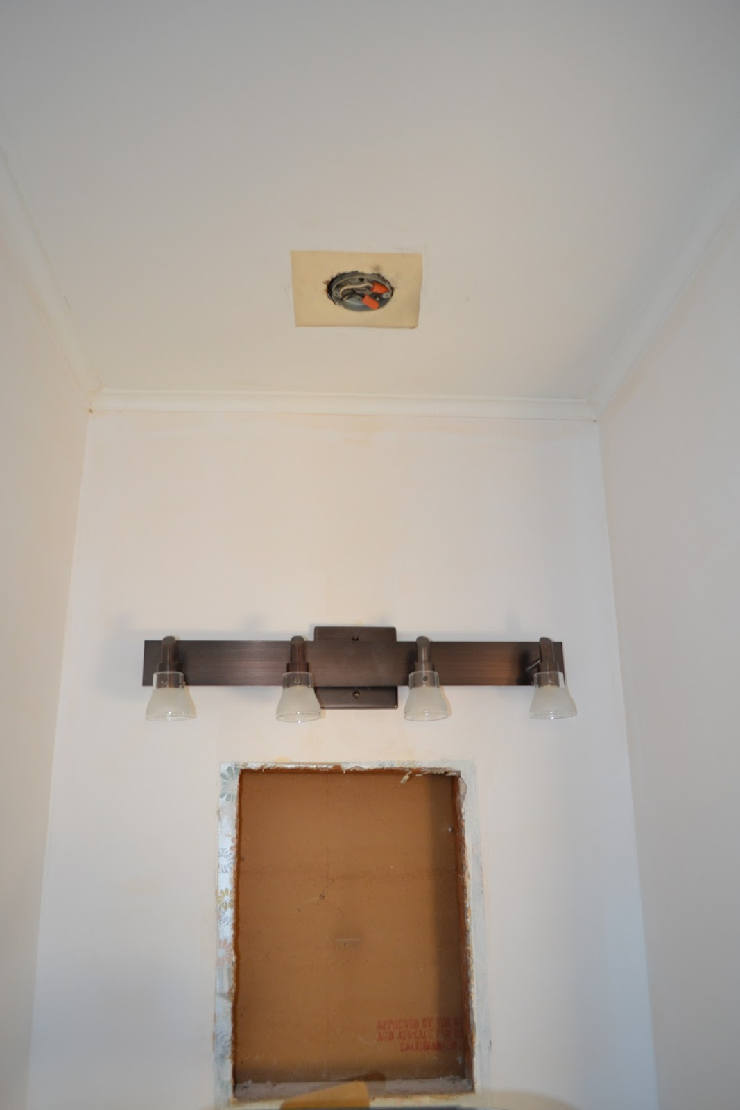 Installing Vanity Light Without Junction Box : One Ugly House: January 2012