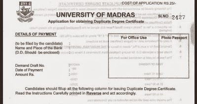 How to obtain duplicate degree certificate from university of how to obtain duplicate degree certificate from university of madras a blog for all yadclub Image collections