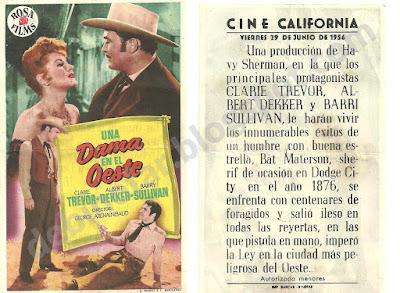 """Binefar. Pelicula Una dama en el oeste"""", que se reprodujo el 29 de junio de 1956"""