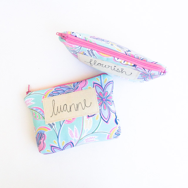 personalized cosmetic bag with embroidered name or word   Mama Bleu Designs