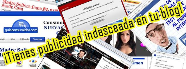 Publicidad no deseada en ventanas emergentes y banners intrusivos en el blog con scripts, gadgets y codigo