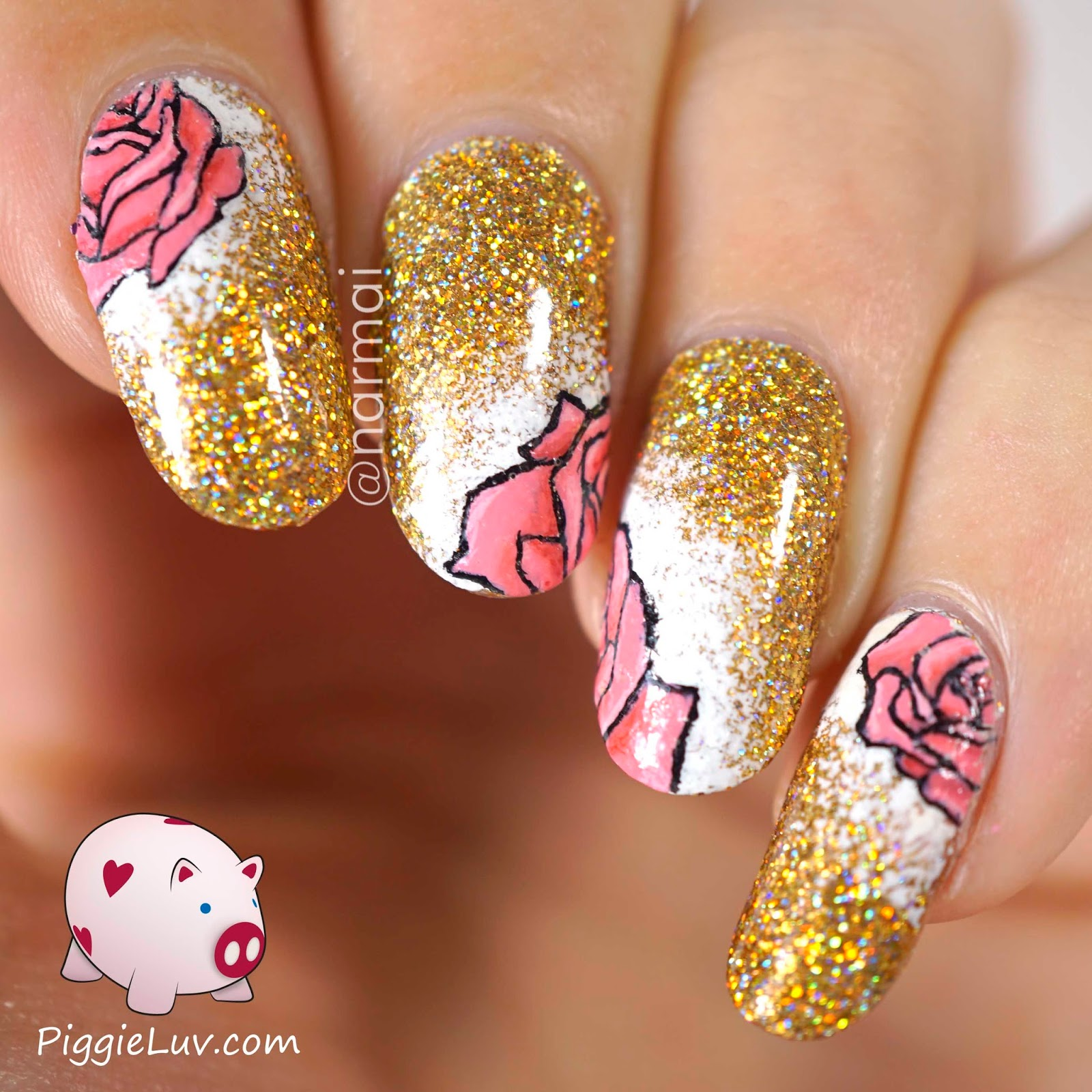 Gold Glitter With Pink Roses Nail Art