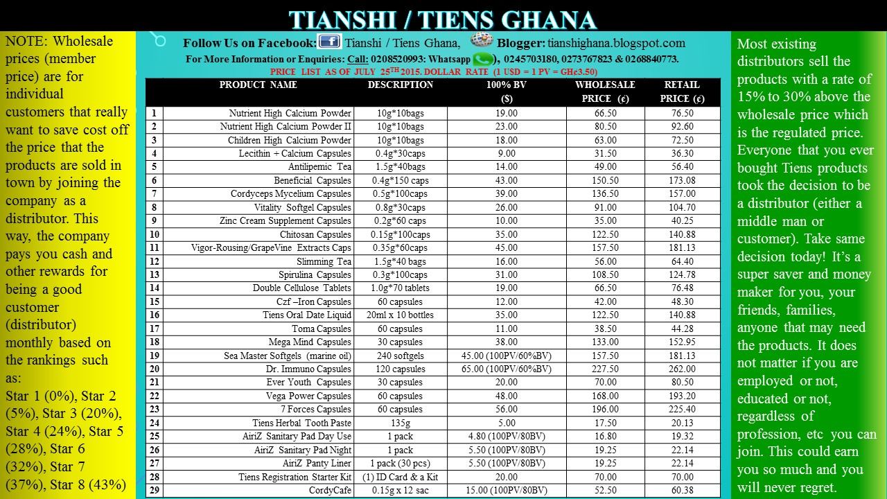 tianshi tiens products business support current price list for